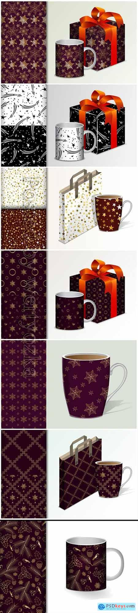 Seamless background gift and mug and mock up with golden