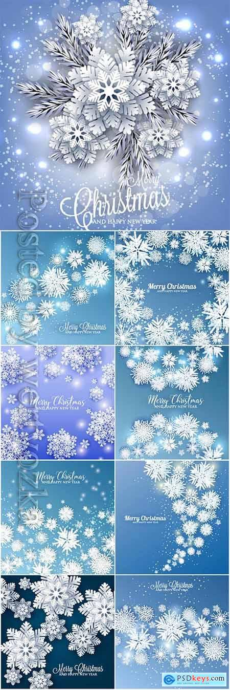 Winter backgrounds with snowflakes in vector