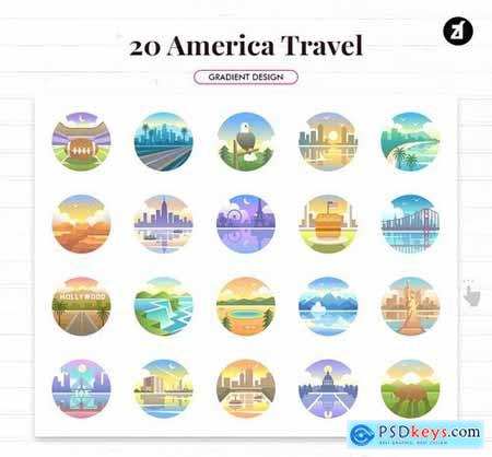 20 America travel rounded gradient elements