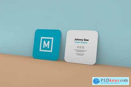 Rounded Square Business Card Wall Mockup