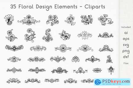Floral Design Elements - Cliparts