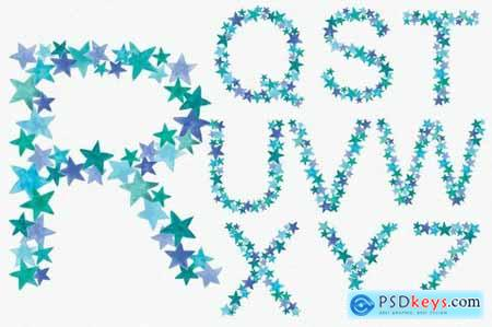 Greeny Blue Star Alphabet