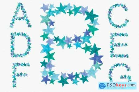 Greeny Blue Star Alphabet