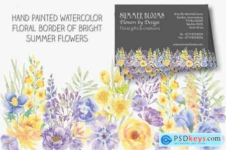 Summer Flowers Border and Elements in Watercolor