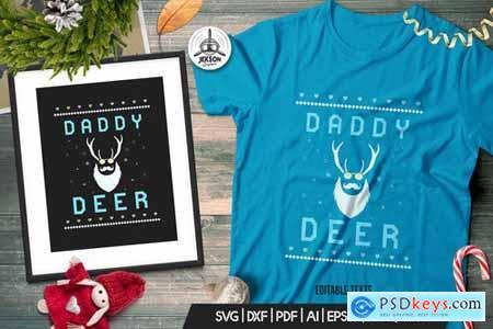 Vintage Ugly Christmas Print TShirt Design, Deer