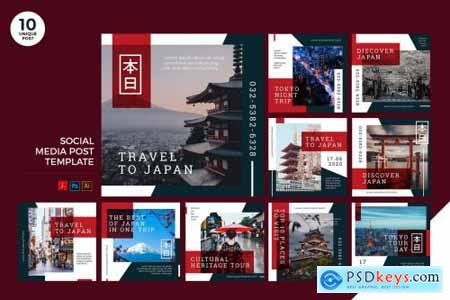 Travel To Japan Social Media Kit PSD & AI