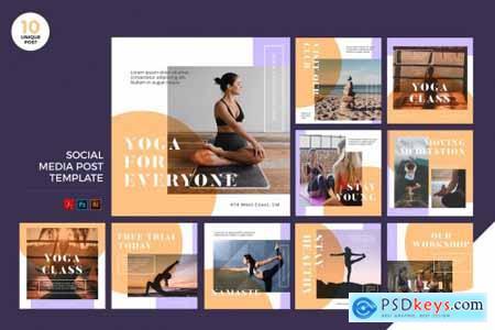 Yoga Class Social Media Kit PSD & AI
