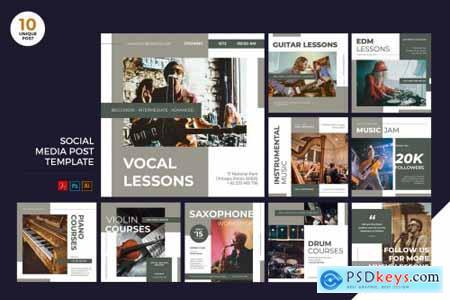 Music Lesson Social Media Kit PSD & AI