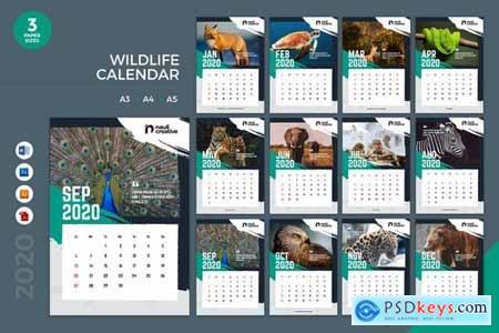 Wildlife Calendar 2020 Calendar - AI, DOC, PSD