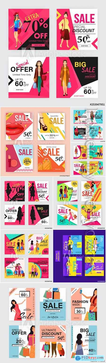 Sale template or poster design with different discount offers and