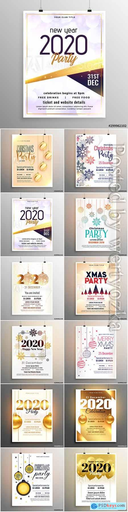 Merry christmas party flyer, Happy new year greeting card