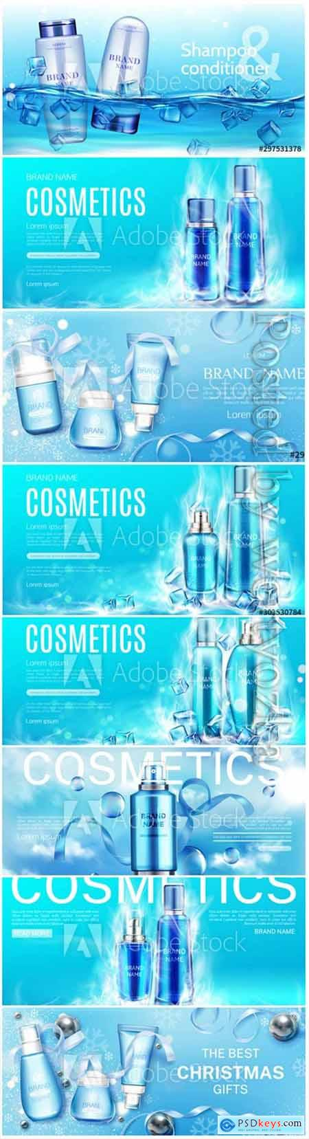 Beauty product cosmetic advertising promo poster realistic 3d vector143