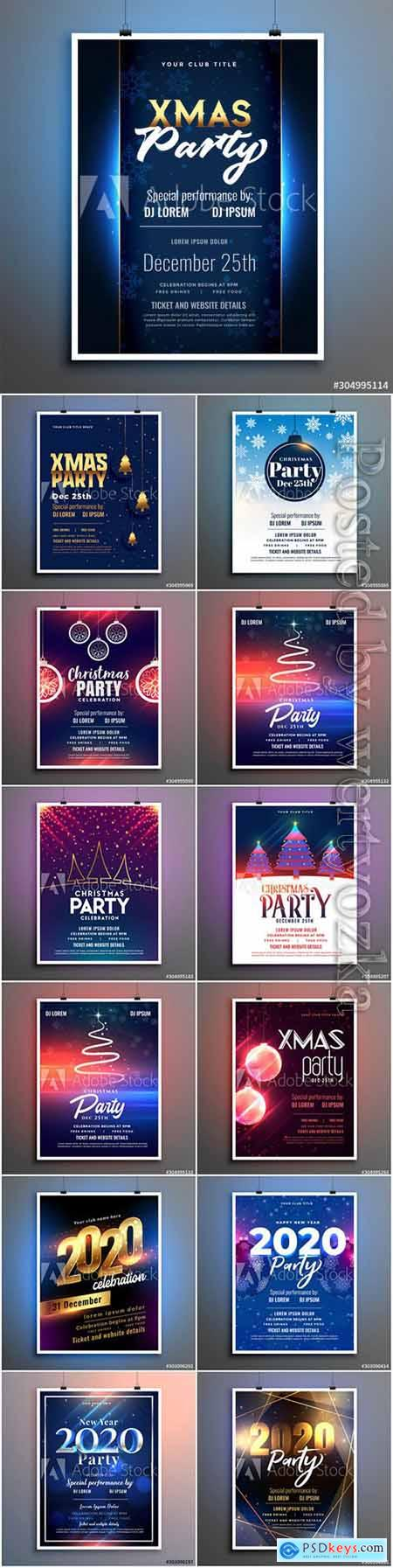 Happy new year and Merry christmas party flyer