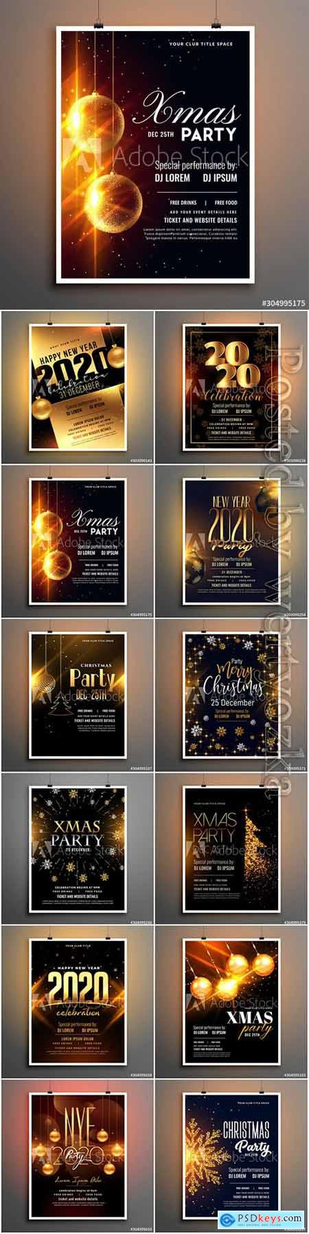 Merry christmas party flyer with golden sparkle tree