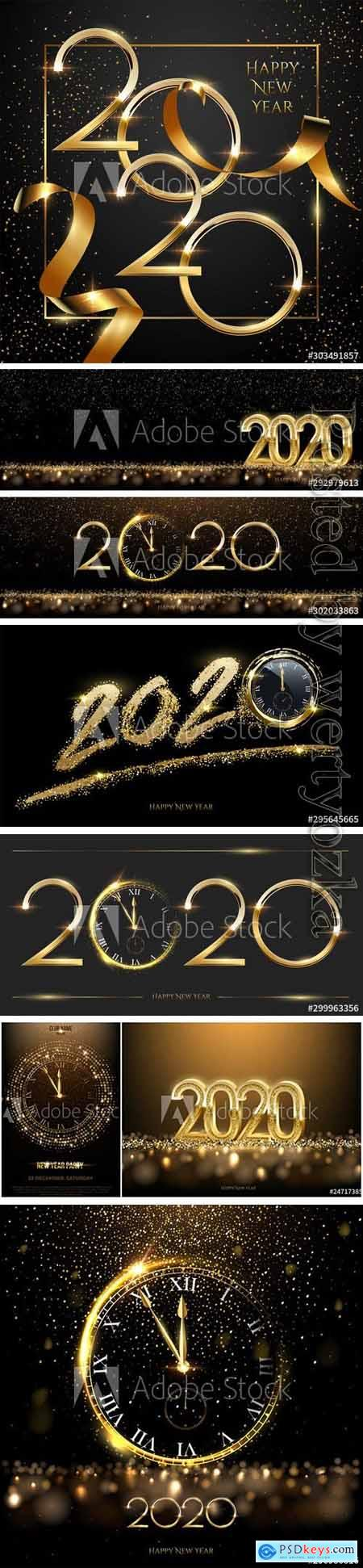 Golden 2020 Happy new year greeting card vector template