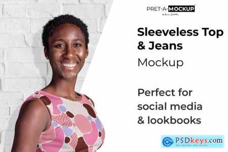 Sleeveless Top & Jeans Mockup 4071529