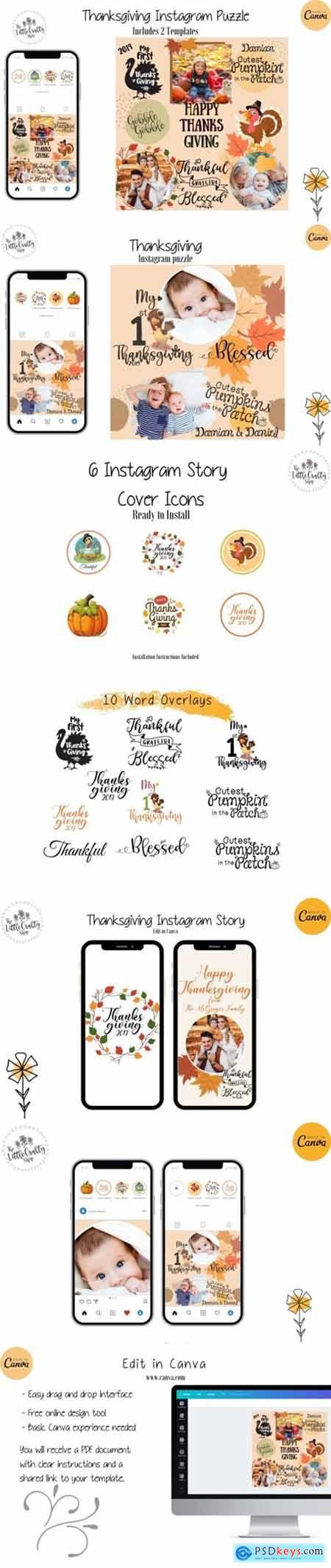 Thanksgiving Instagram Puzzle Template 2117998
