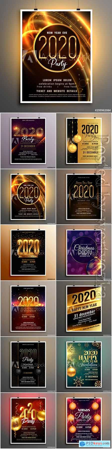 2020 new year shiny party event flyer design template