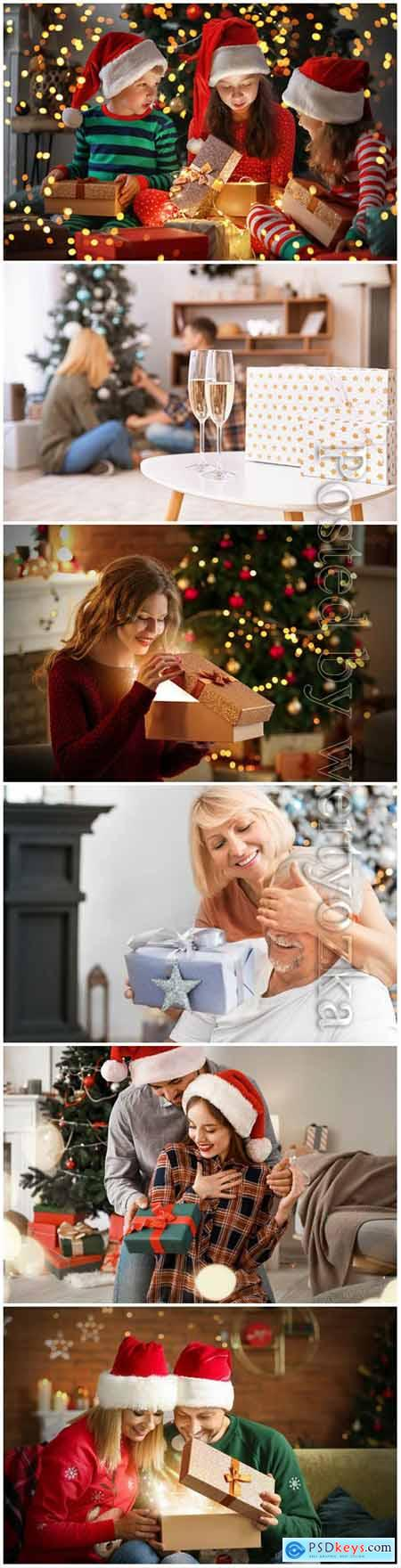 Happy people in Christmas, christmas presents