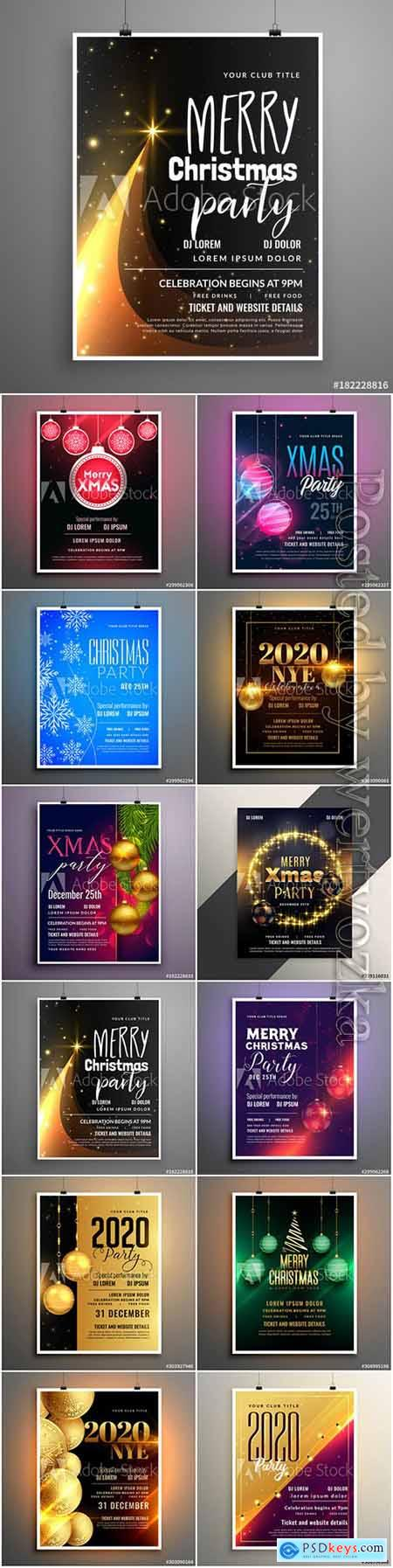 Stylish 2020 new year cover flyer template design