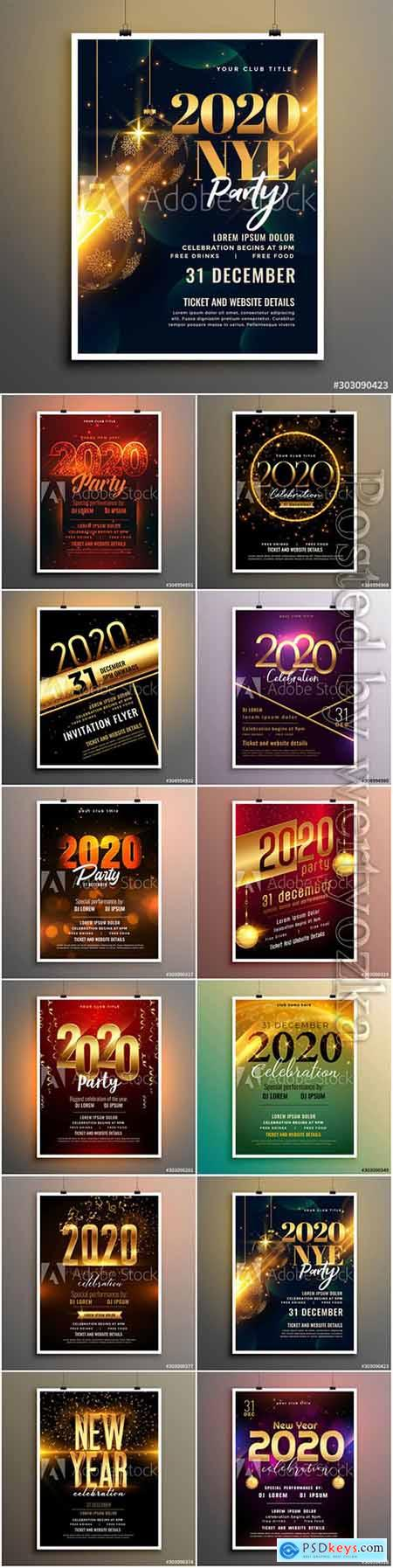 New year party celebration cover flyer template design