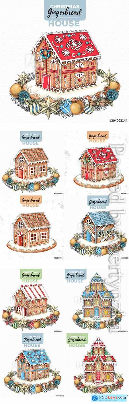 Hand drawing illustration of christmas gingerbread house