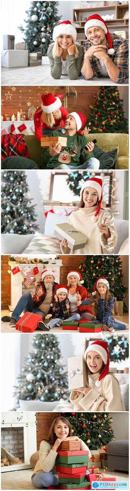 Happy people in Christmas, New year holidays