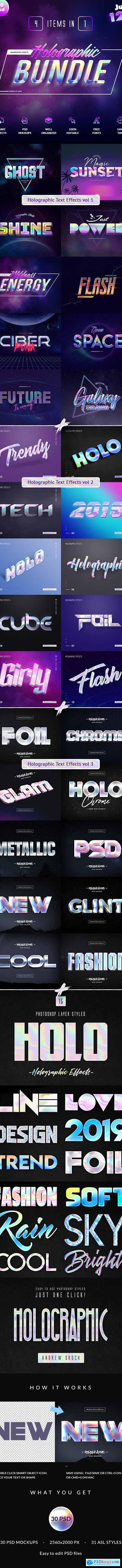 Holographic Text Effects Bundle 25047134