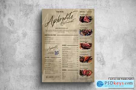 Vintage Old Food Menu - A3 & US Tabloid Poster