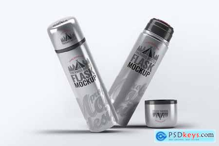 Steel Thermos Bottle Mock-Up