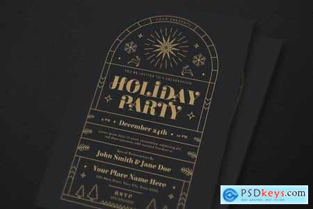 Gold Deco Holiday Party Event Flyer