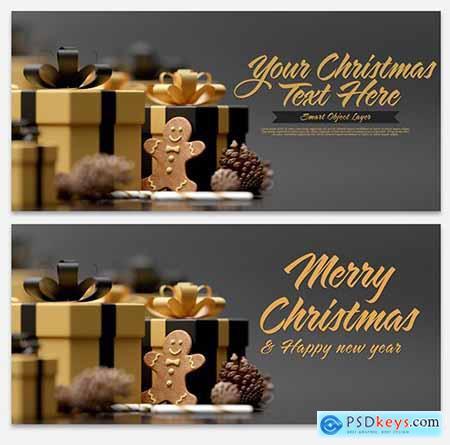 Christmas Scene Mockup with Gingerbread 300737572