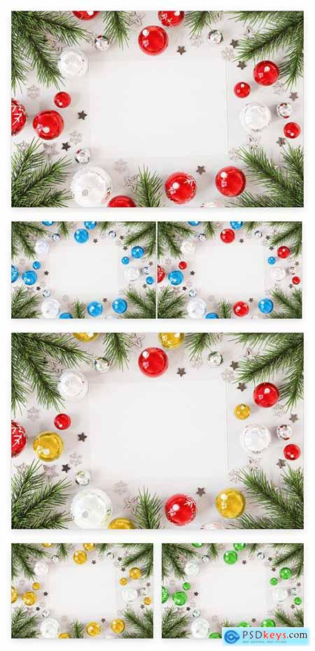 Christmas Card On White Surface With Ornaments Mockup 227103634