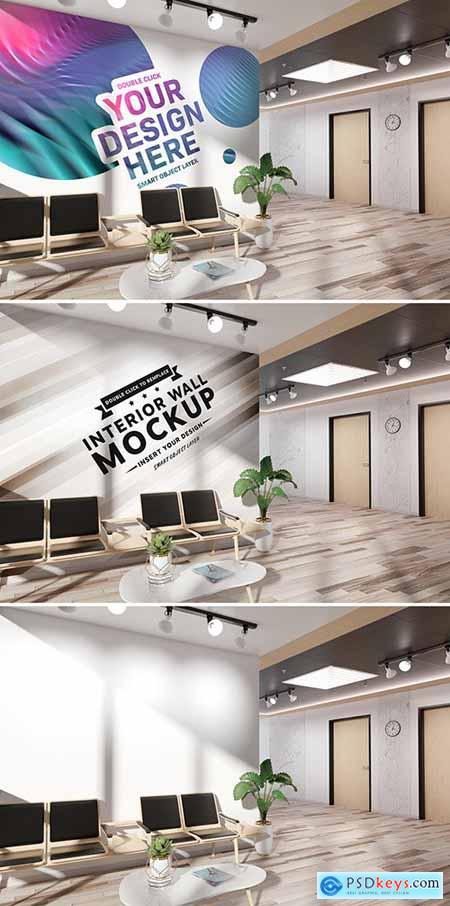 Wall in Office Lobby Mockup 261067494