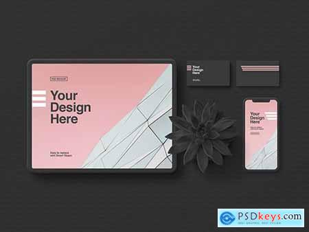 Stationery and Tablet Mockup in Minimalist Black 300445898