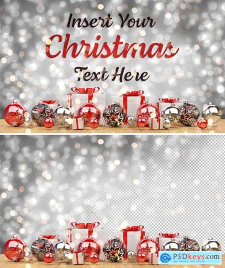 Christmas Card Mockup with Ornaments 305996055