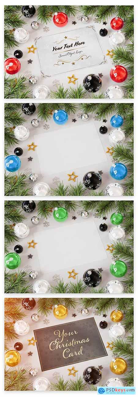 Christmas Card with Ornaments Mockup 228589589