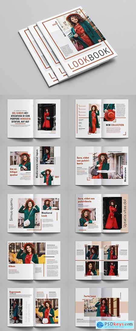 Lookbook Layout with Red Accents 305533688