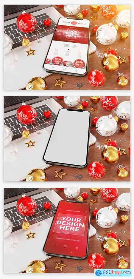 Smartphone near Holiday Ornaments Mockup 222041466