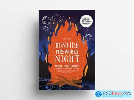 Event Poster Layout with Bonfire Illustrations 305813380