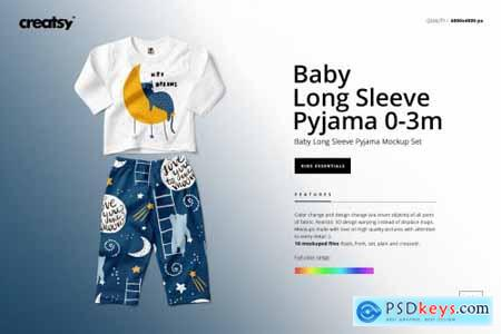 Baby Long Sleeve Pyjama Mockup Set 4309706