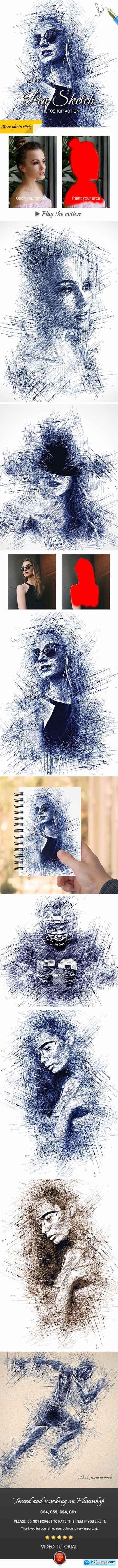Pen Sketch Photoshop Action 25003520