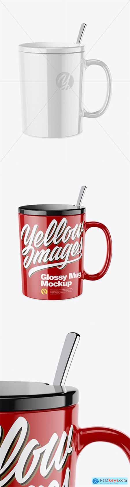 Glossy Mug with Lid Mockup 43245