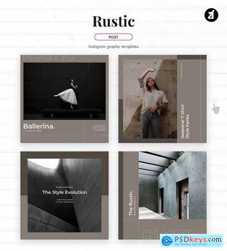 Rustic social media graphic templates