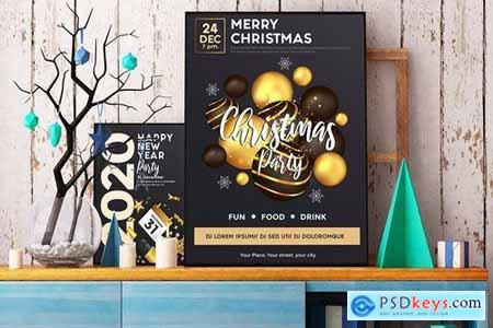 Set of 16 Christmas and Happy New Year Party Flyer