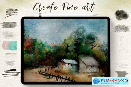 75 Procreate Watercolor Brush Bundle 4313003