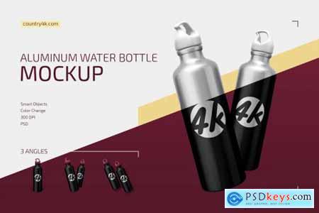Aluminum Water Bottle Mockup Set 4351770