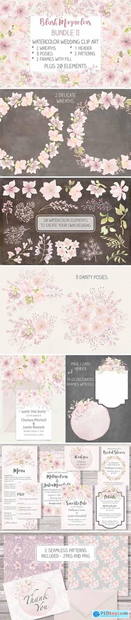 Blush Magnolias- Wedding Clip Art Set II