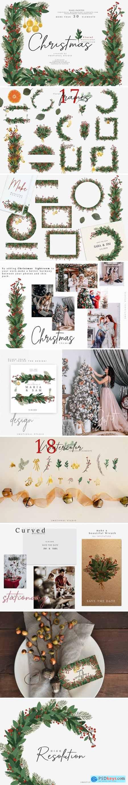 Christmas Watercolor Floral Frames 2194644