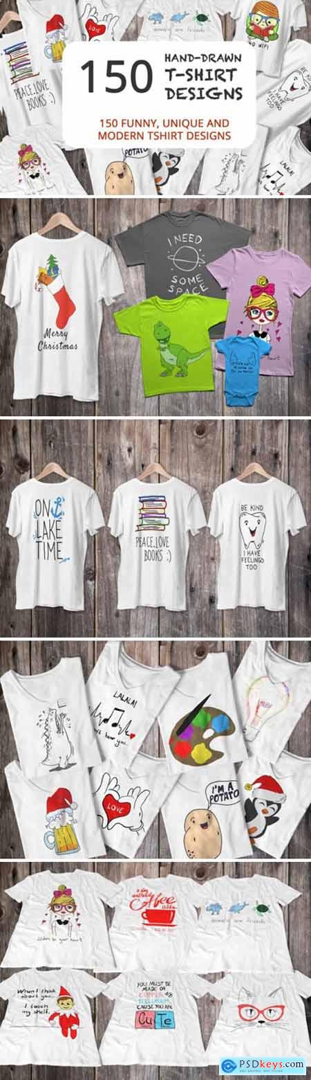 150 Hand Drawn Funny and Simple T-shirt 2178808